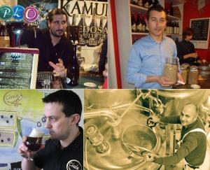 """Da sinistra in alto in senso orario:  Gian Paolo """"Gippo"""" Camurri (Kamun), Massimiliano Di Prinzio (Maiella), Giacomo Petretto (P3Brewing) e Daniele Cosenza (Civale)"""