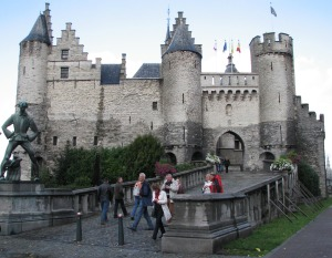The castle of Antwerp (Steen) and the statue of Lange Wapper