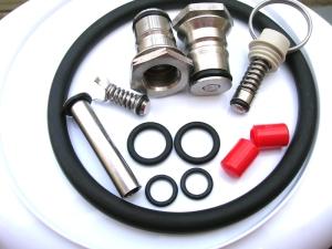 Tubo CO2, valvola interna, o-ring Jolly, o-ring tubo, tappini rossi per maniglia, innesti Jolly, valvola di sicurezza, o-ring oblò